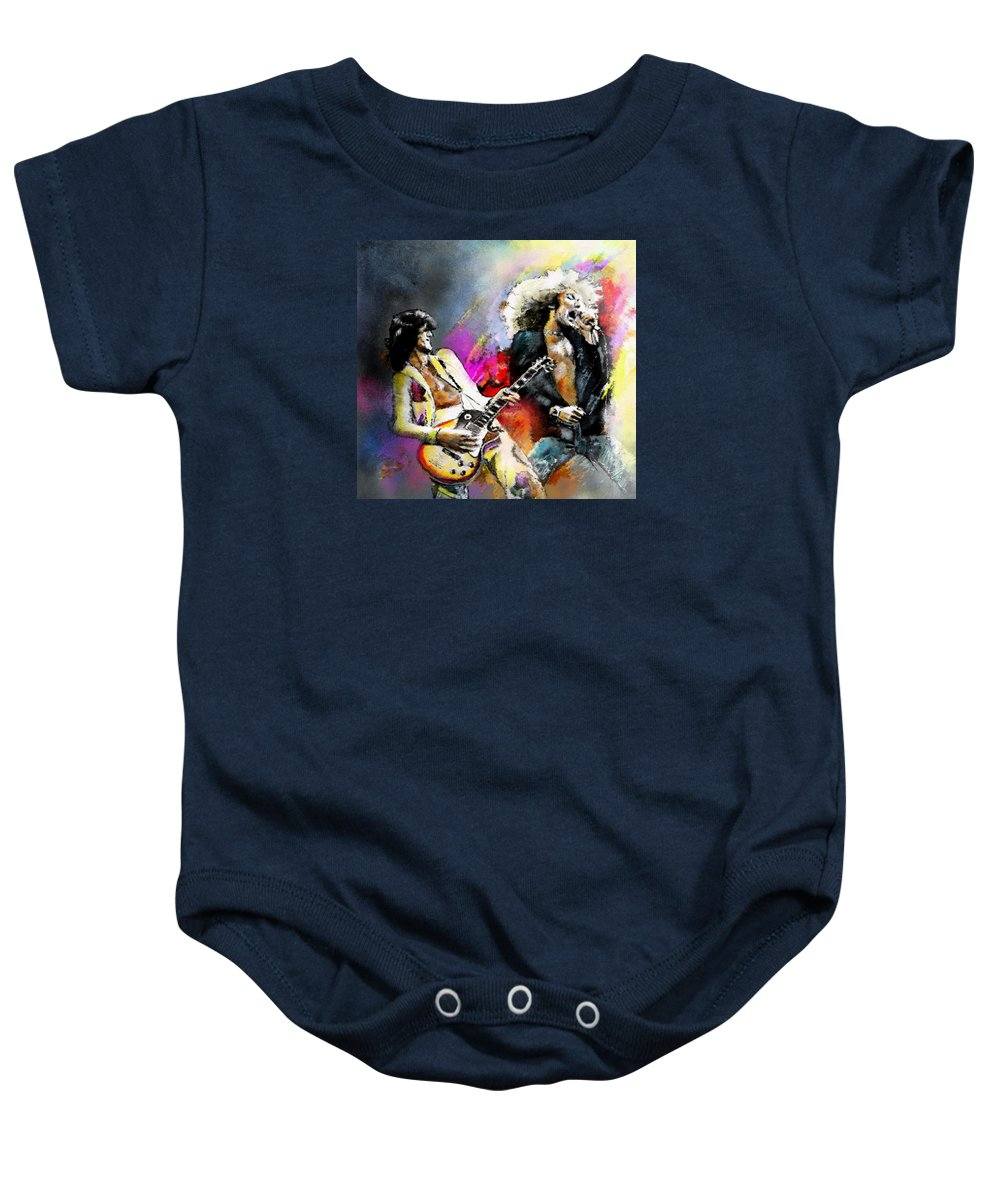 d06aa21ee Musicians Baby Onesie featuring the painting Jimmy Page And Robert Plant Led  Zeppelin by Miki De