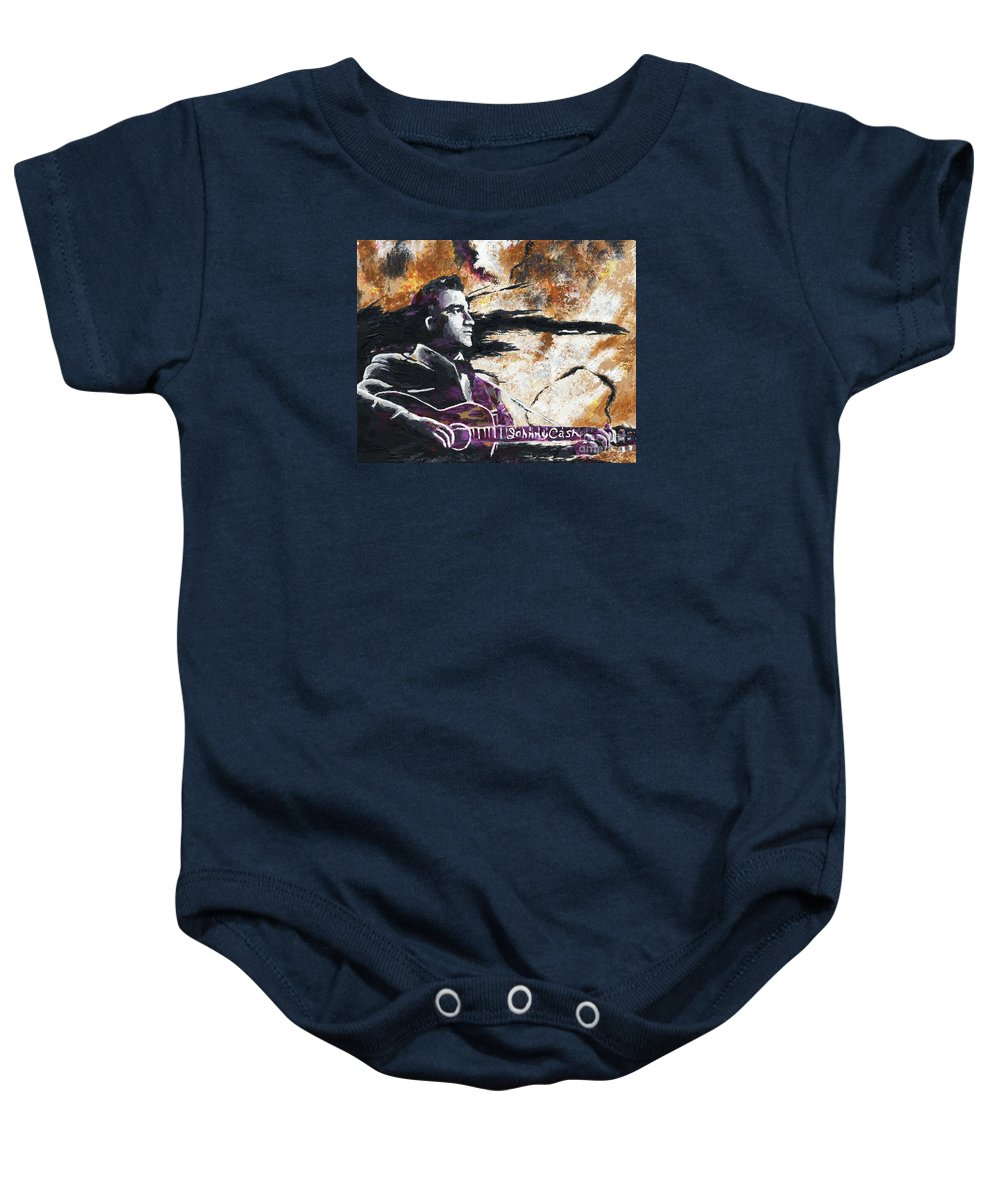 Rock N Roll Baby Onesie featuring the painting Johnny Cash Original Painting Print by Ryan Rock Artist