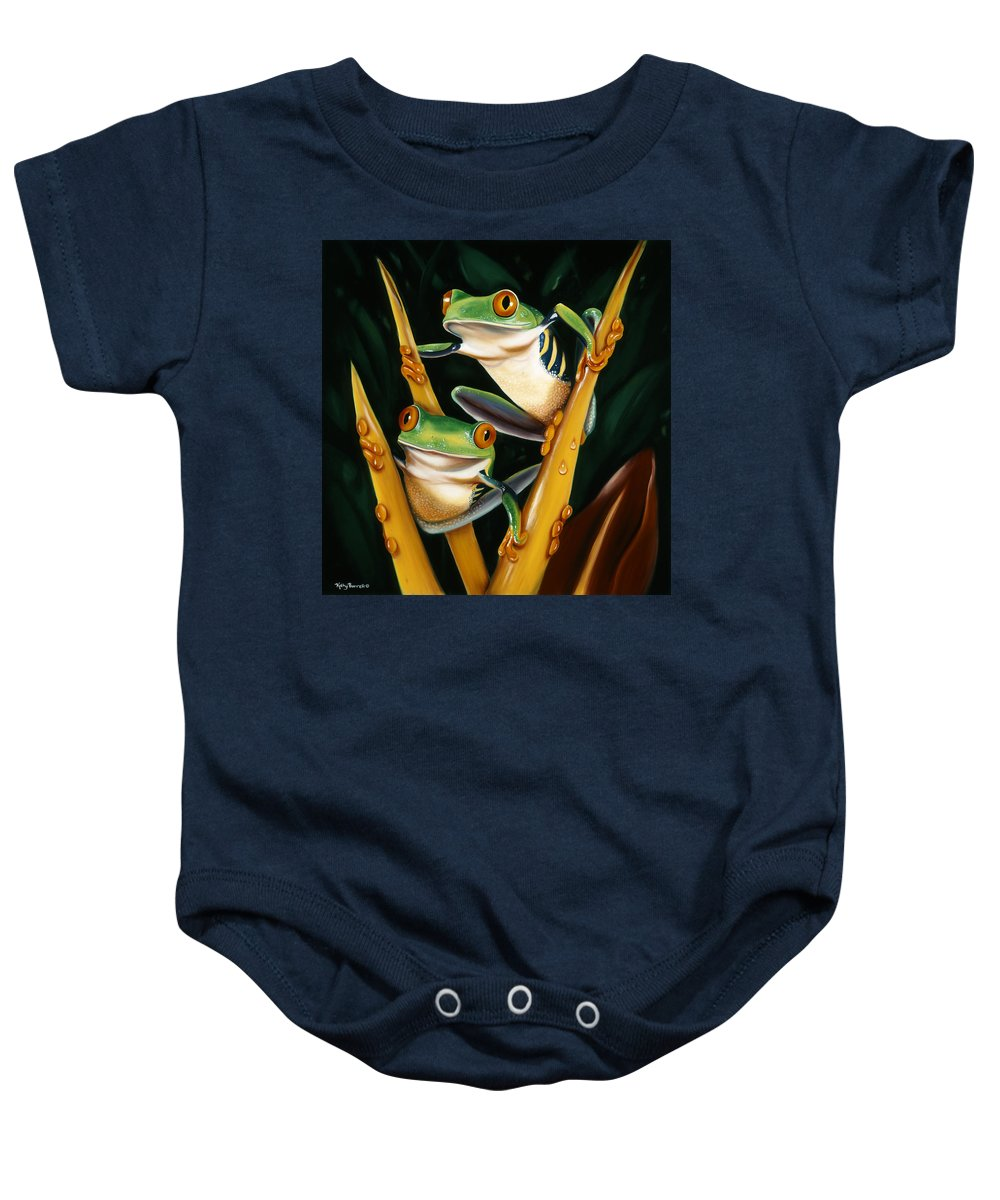 Wildlife Baby Onesie featuring the painting Jungle Gym by Kathy Barrett