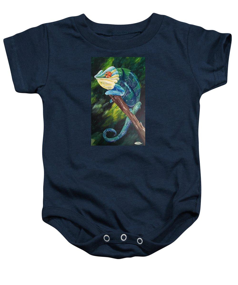Chameleon Baby Onesie featuring the painting Koimelleon by Deda Happel