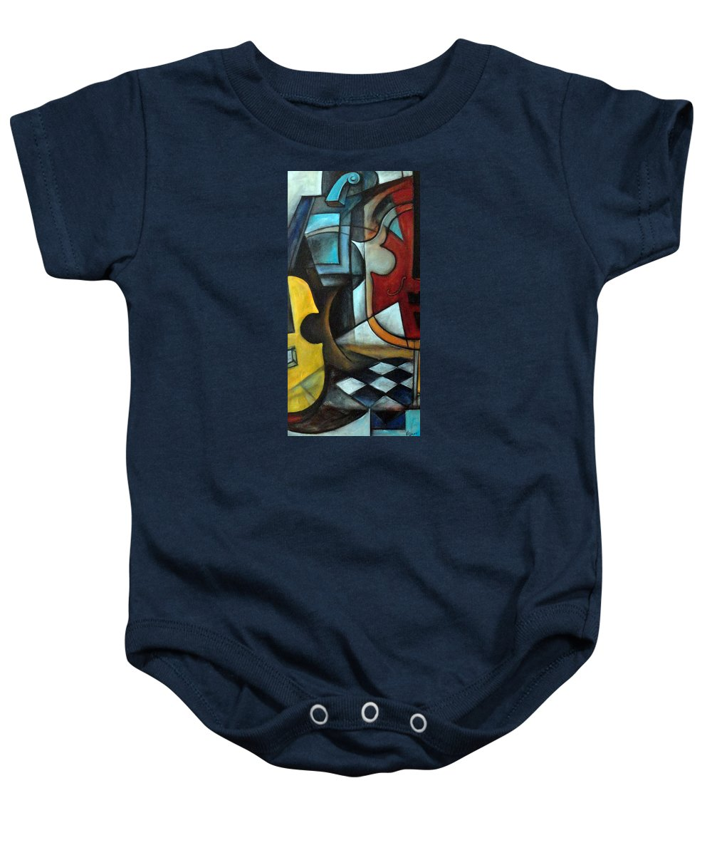 Abstract Baby Onesie featuring the painting La Musique 1 by Valerie Vescovi
