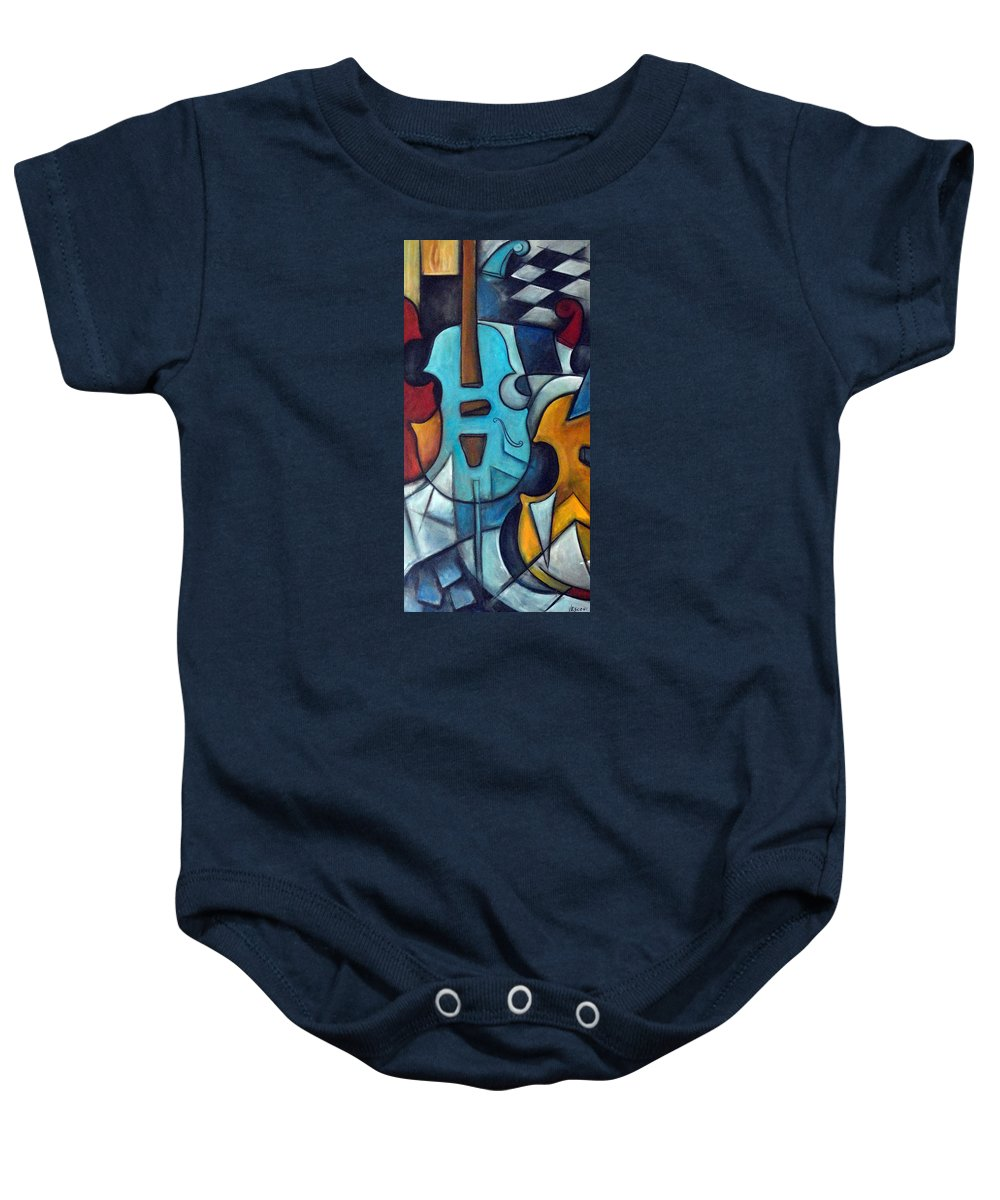 Music Baby Onesie featuring the painting La Musique 2 by Valerie Vescovi