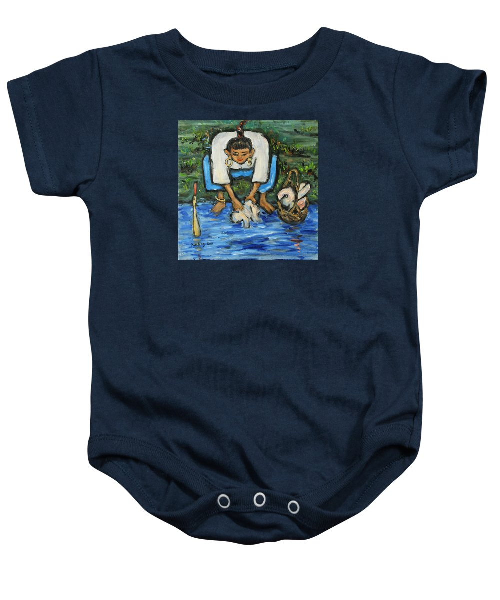 Figurative Baby Onesie featuring the painting Laundry Girl by Xueling Zou