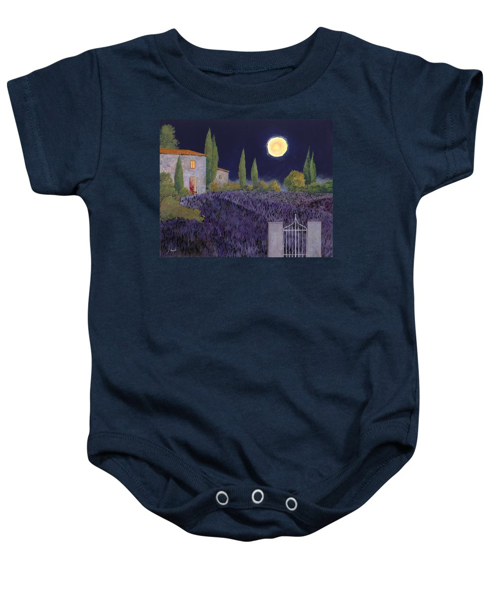 Tuscany Baby Onesie featuring the painting Lavanda Di Notte by Guido Borelli