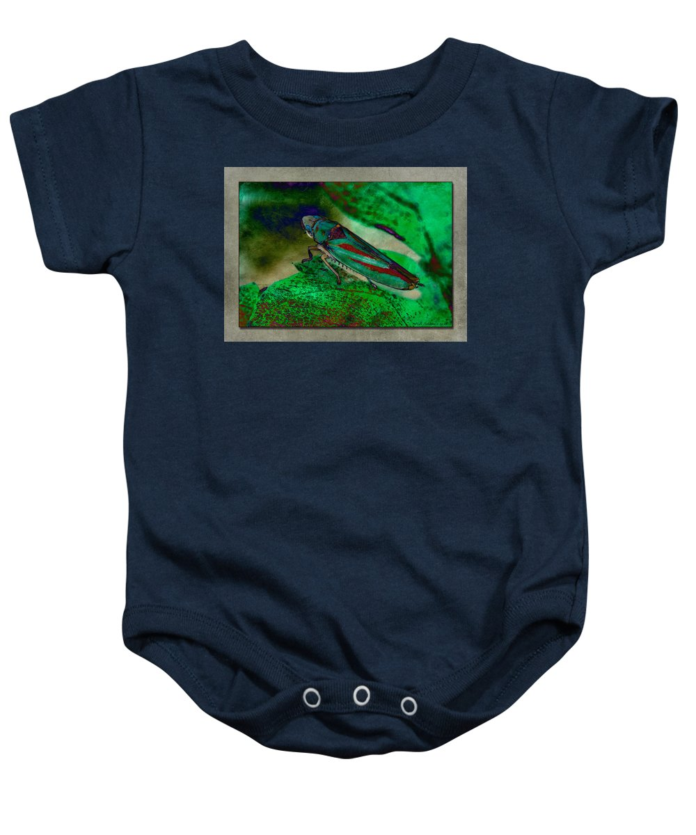 Leaf Hopper Baby Onesie featuring the photograph Leaf Hopper by WB Johnston