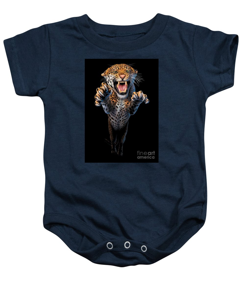 Animal Baby Onesie featuring the photograph Leaping Leopard by Andrew Farley