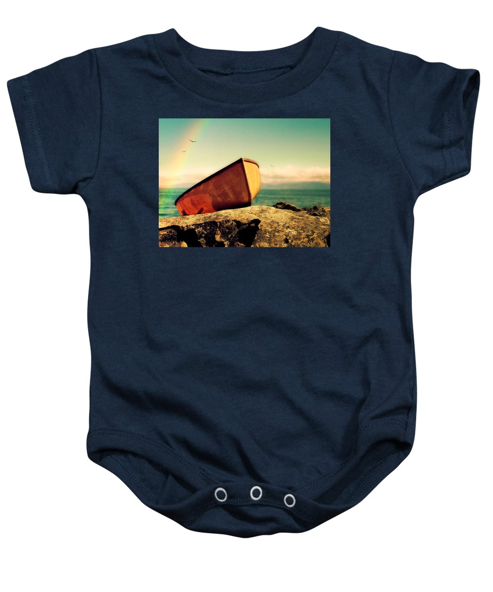 Boat Baby Onesie featuring the photograph Left High And Dry by Micki Findlay