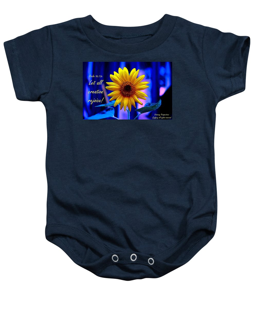 Sunflower Baby Onesie featuring the digital art Let All Rejoice by Jewell McChesney