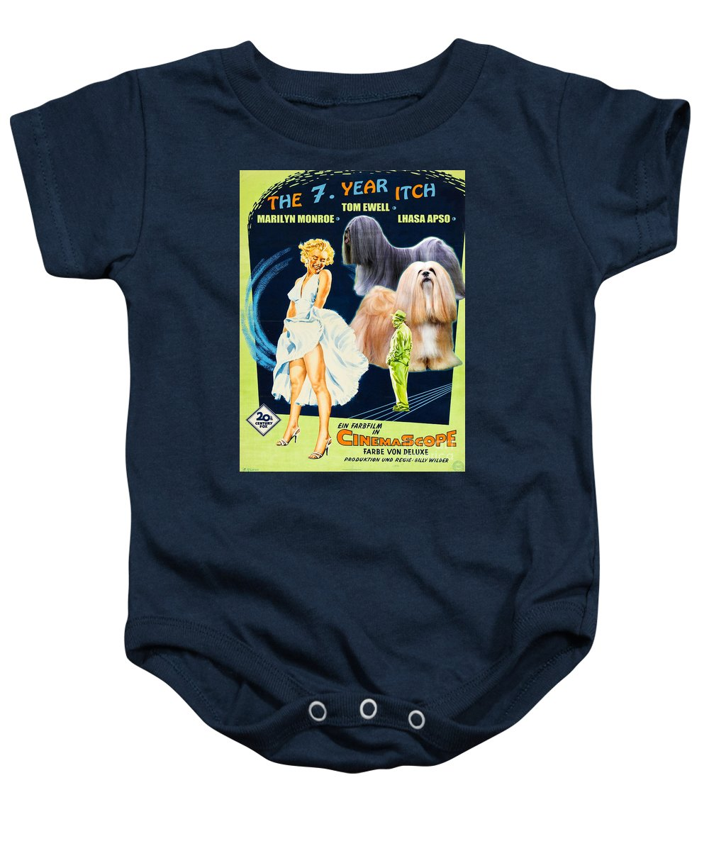 Dog Baby Onesie featuring the painting Lhasa Apso Art - The Seven Year Itch Movie Poster by Sandra Sij