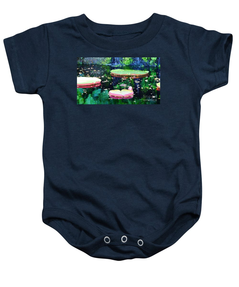 Lily Leaves Baby Onesie featuring the photograph Lily Leaves Painterly by Christiane Schulze Art And Photography