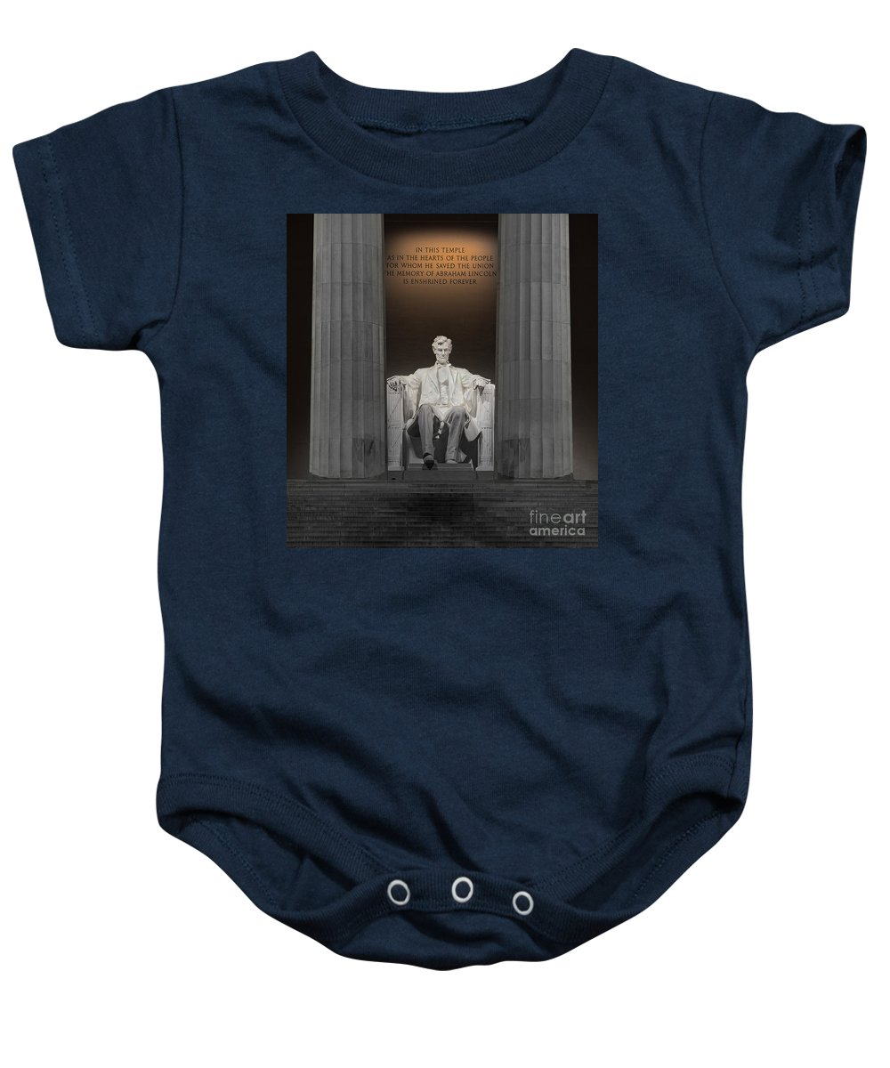 Lincoln Memorial Baby Onesie featuring the photograph Lincoln And Columns by Jerry Fornarotto