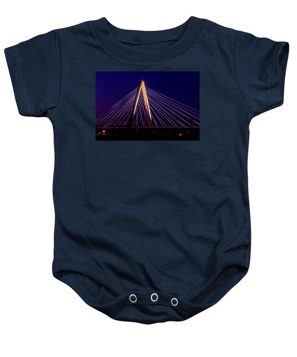 Bridge Baby Onesie featuring the photograph Lines by Ken Kobe