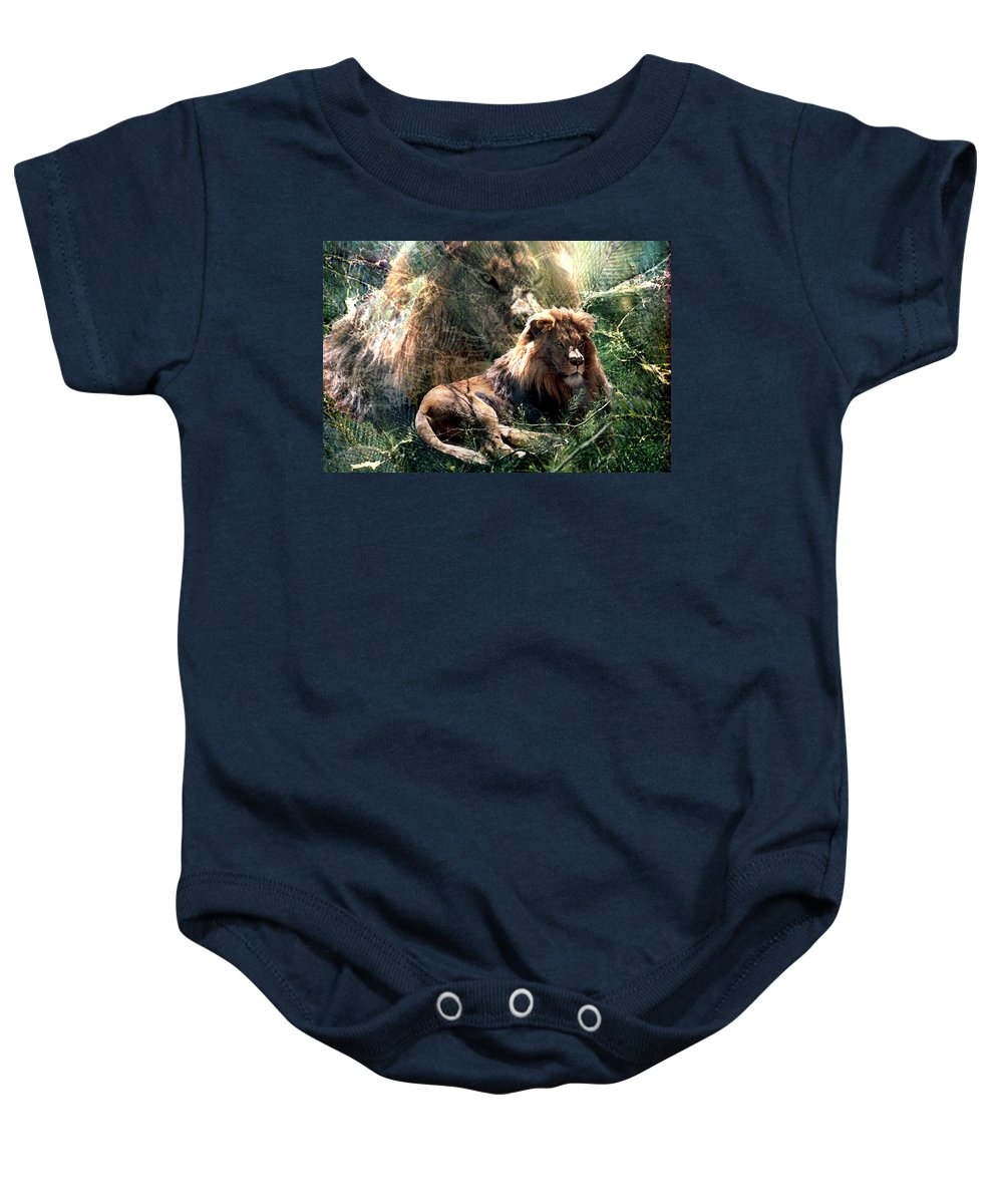 Lion Baby Onesie featuring the digital art Lion Spirit by Lisa Yount