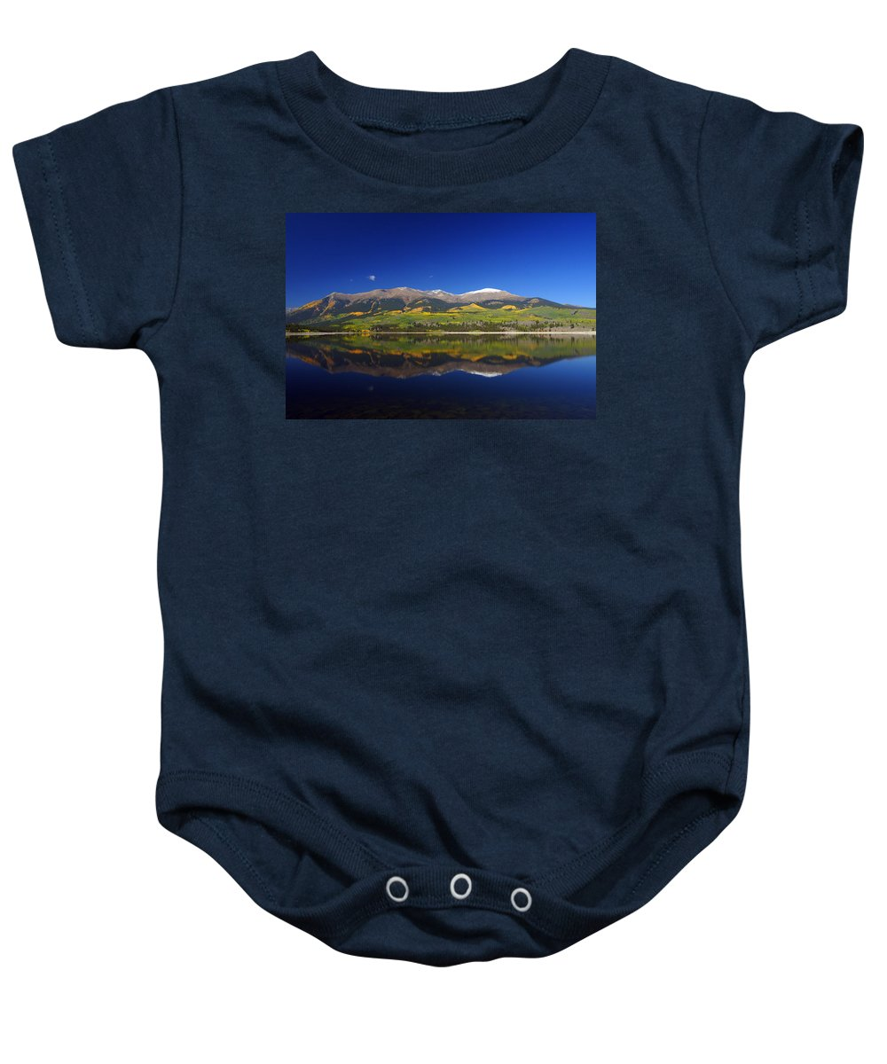 Autumn Foliage Baby Onesie featuring the photograph Liquid Mirror by Jeremy Rhoades