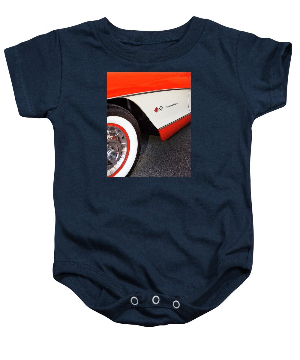 Car Auction Baby Onesie featuring the photograph Little Red Corvette Palm Springs by William Dey
