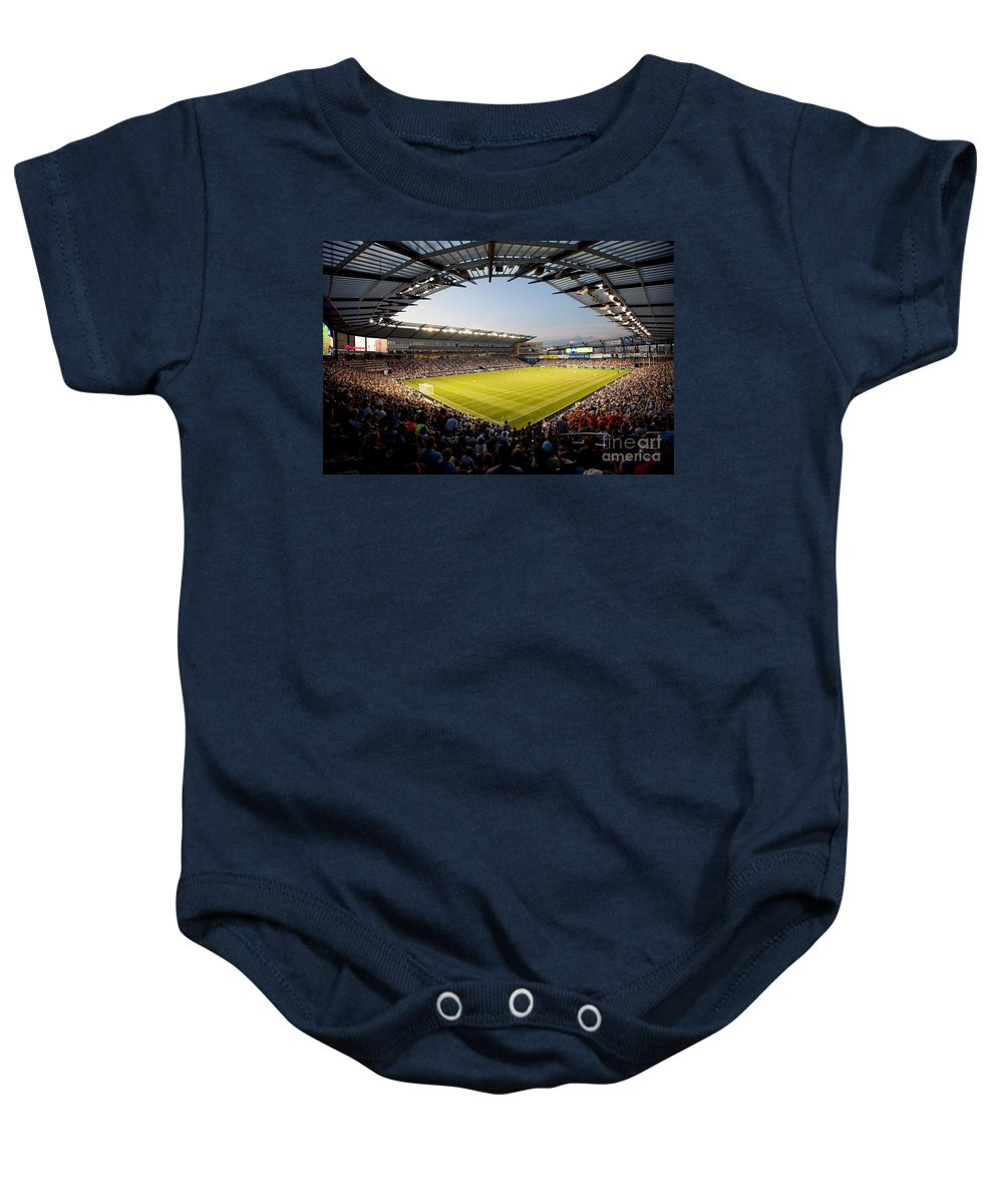 City Baby Onesie featuring the photograph Livestrong Sporting Park Kansas City by Bill Cobb