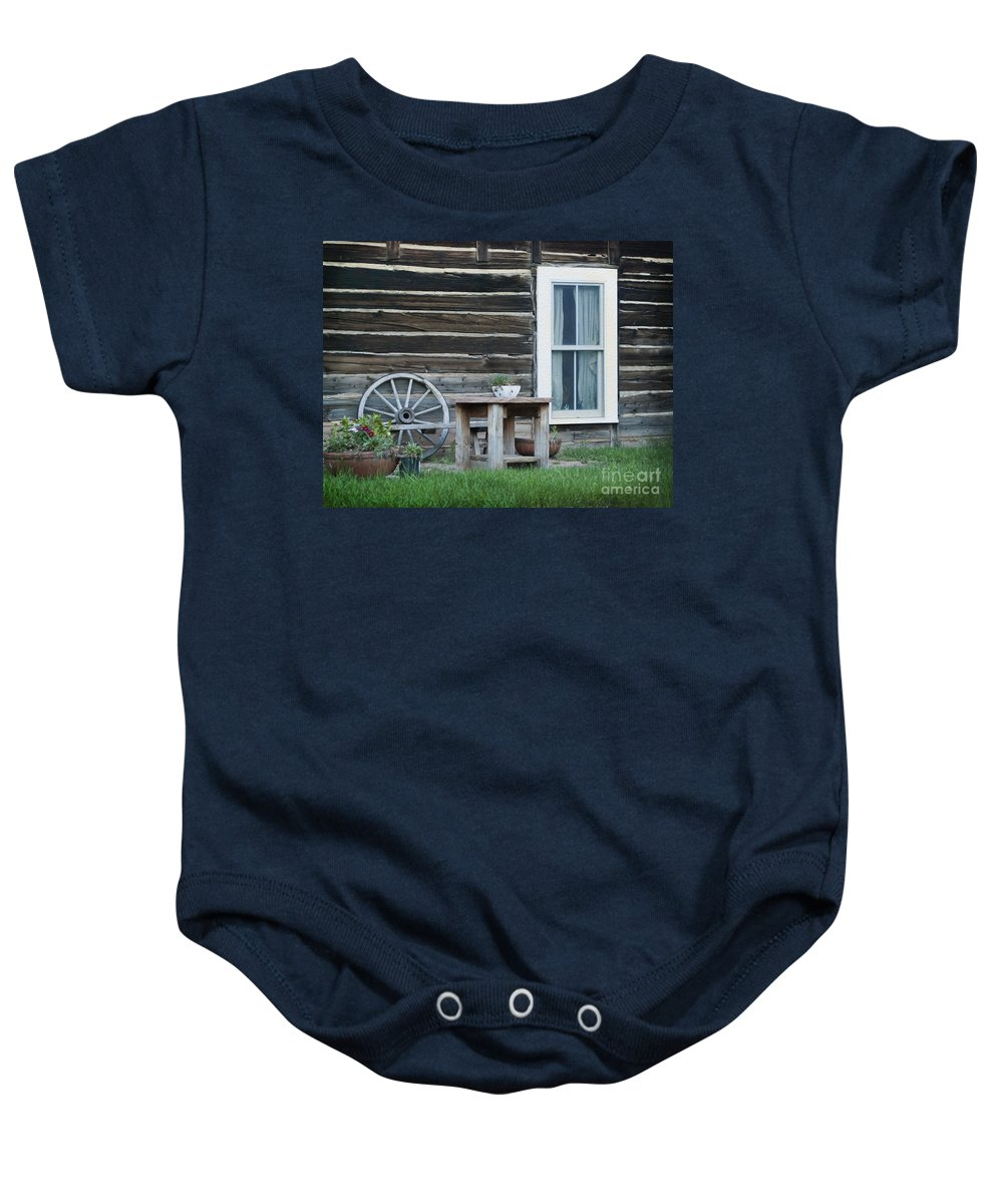 601 Klondyke Ave Baby Onesie featuring the photograph Log Cabin by Juli Scalzi