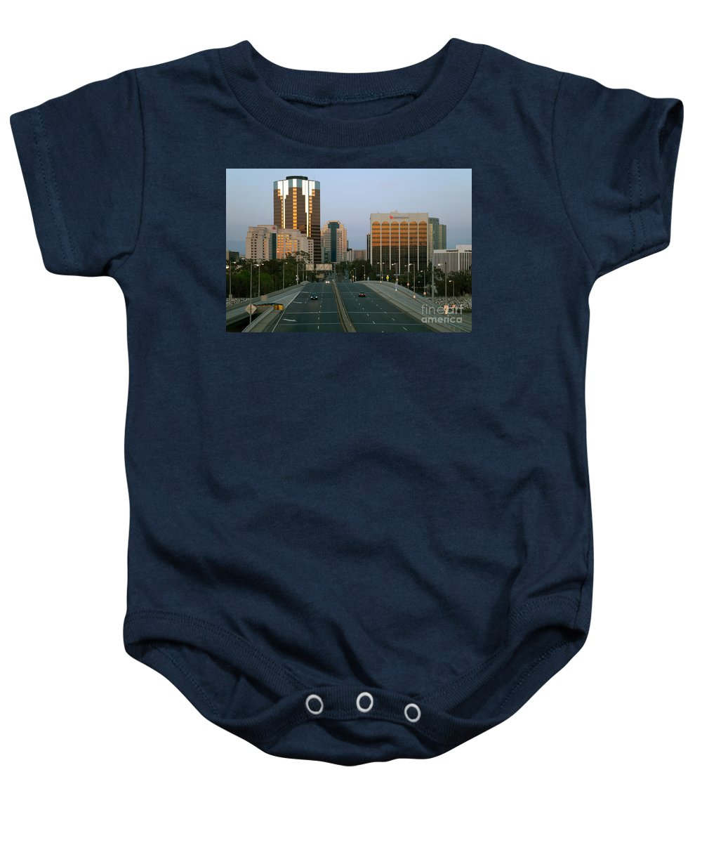 California Baby Onesie featuring the photograph Long Beach California Downtown Skyline by Bill Cobb