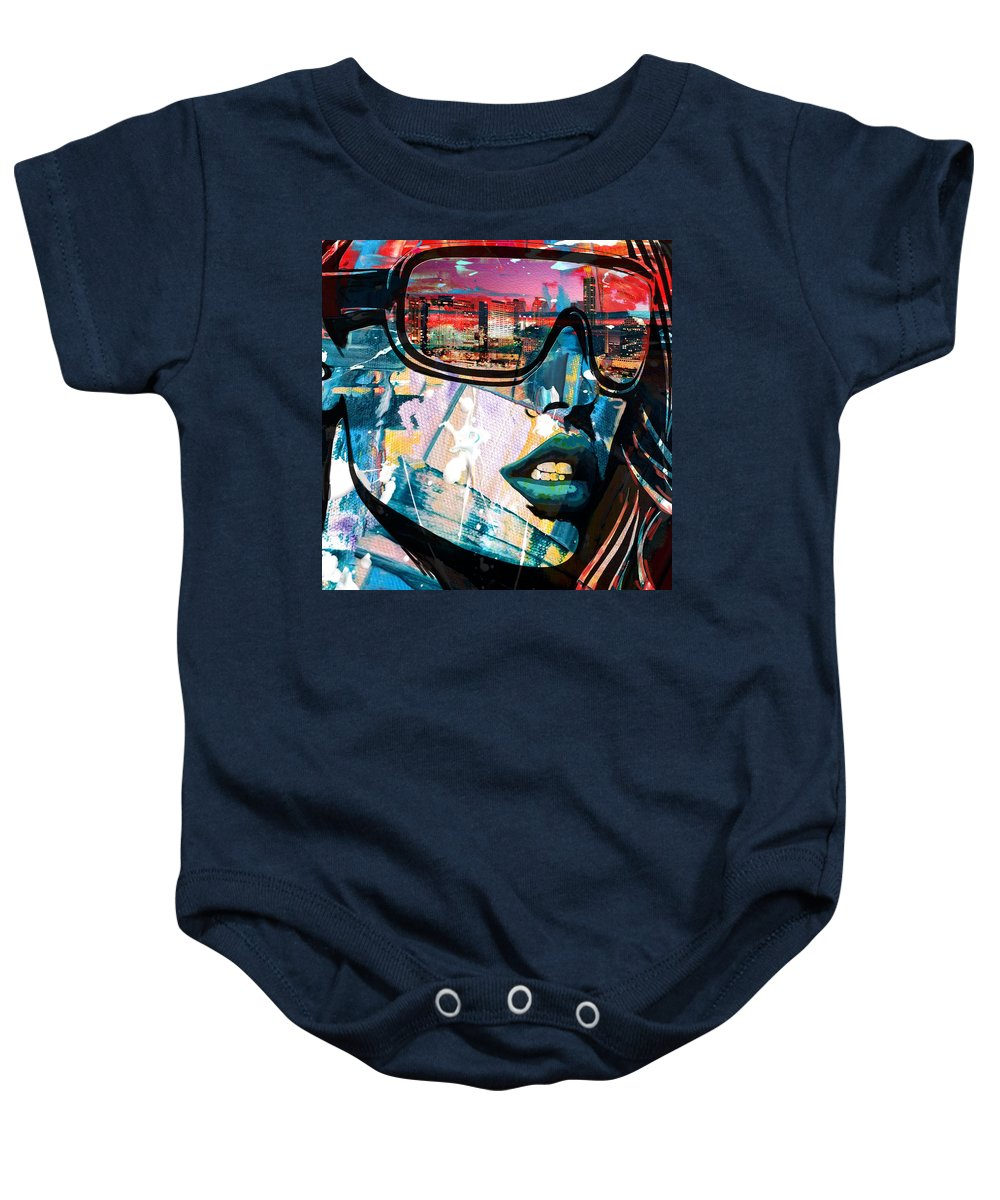 Los Angeles Baby Onesie featuring the painting Los Angeles Skyline by Corporate Art Task Force