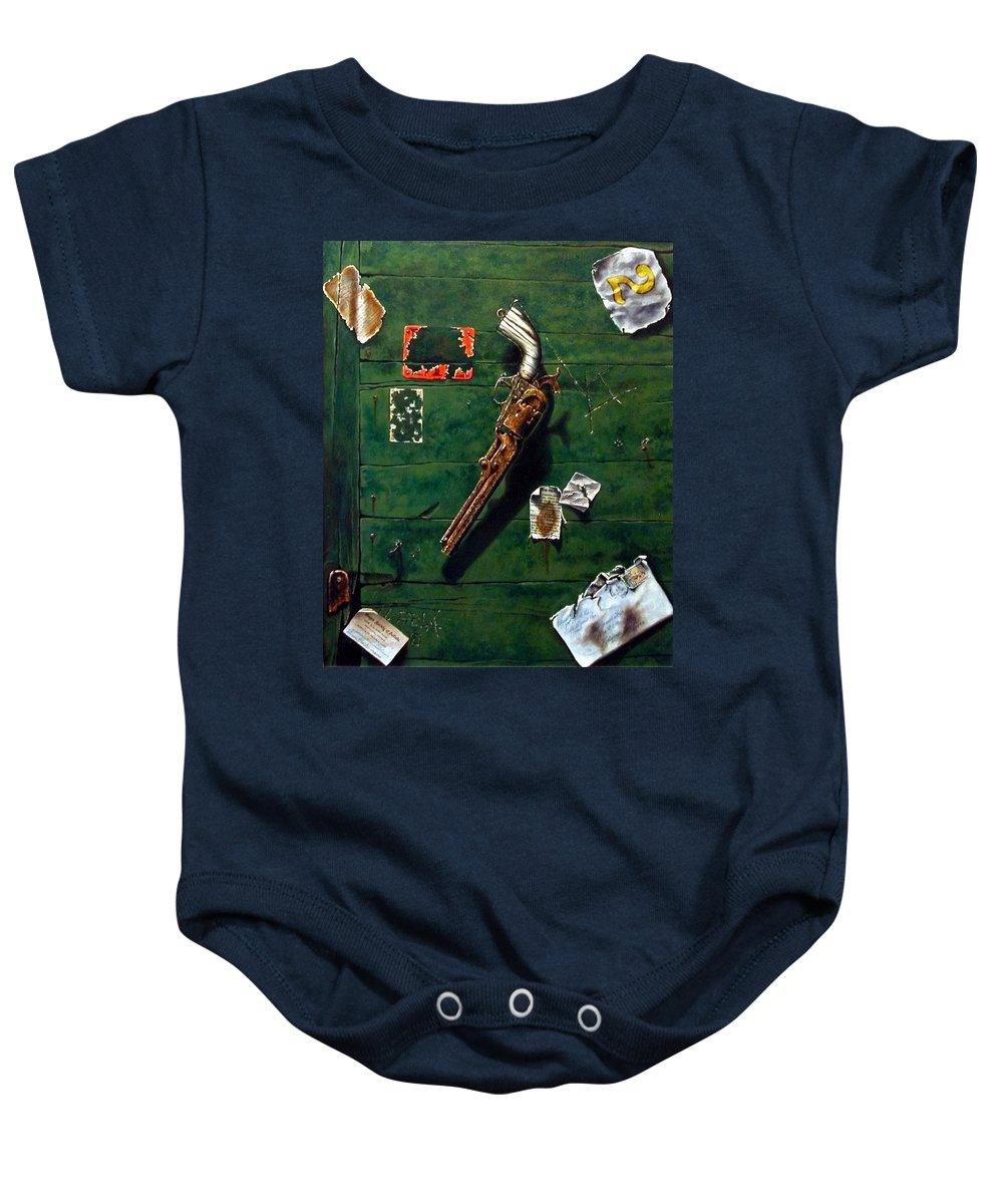 Trompe Le Oil Baby Onesie featuring the painting Lost And Found by Jim Gola