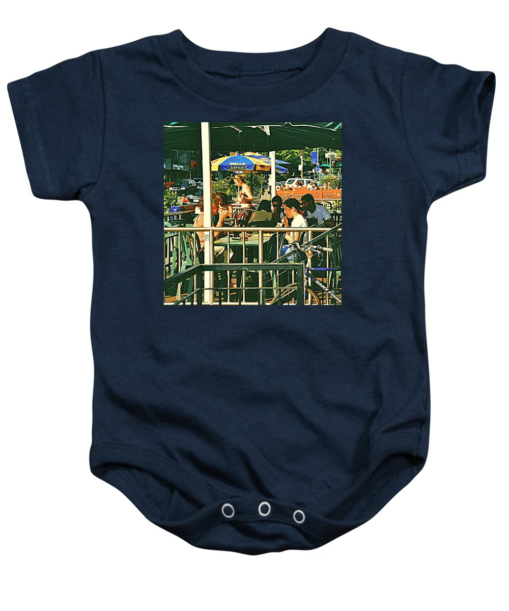Cafes Baby Onesie featuring the painting Lunch Party At The La Belle Gueule Brasserie Terrace - Park Your Bike And Enjoy The Sunny Day by Carole Spandau