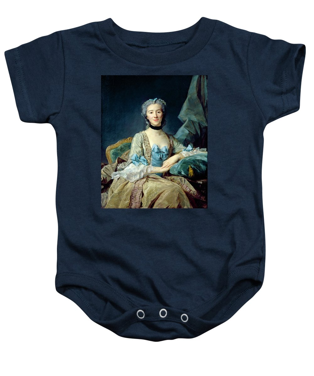 Female Baby Onesie featuring the photograph Madame De Sorquainville, 1749 Oil On Canvas by Jean-Baptiste Perronneau