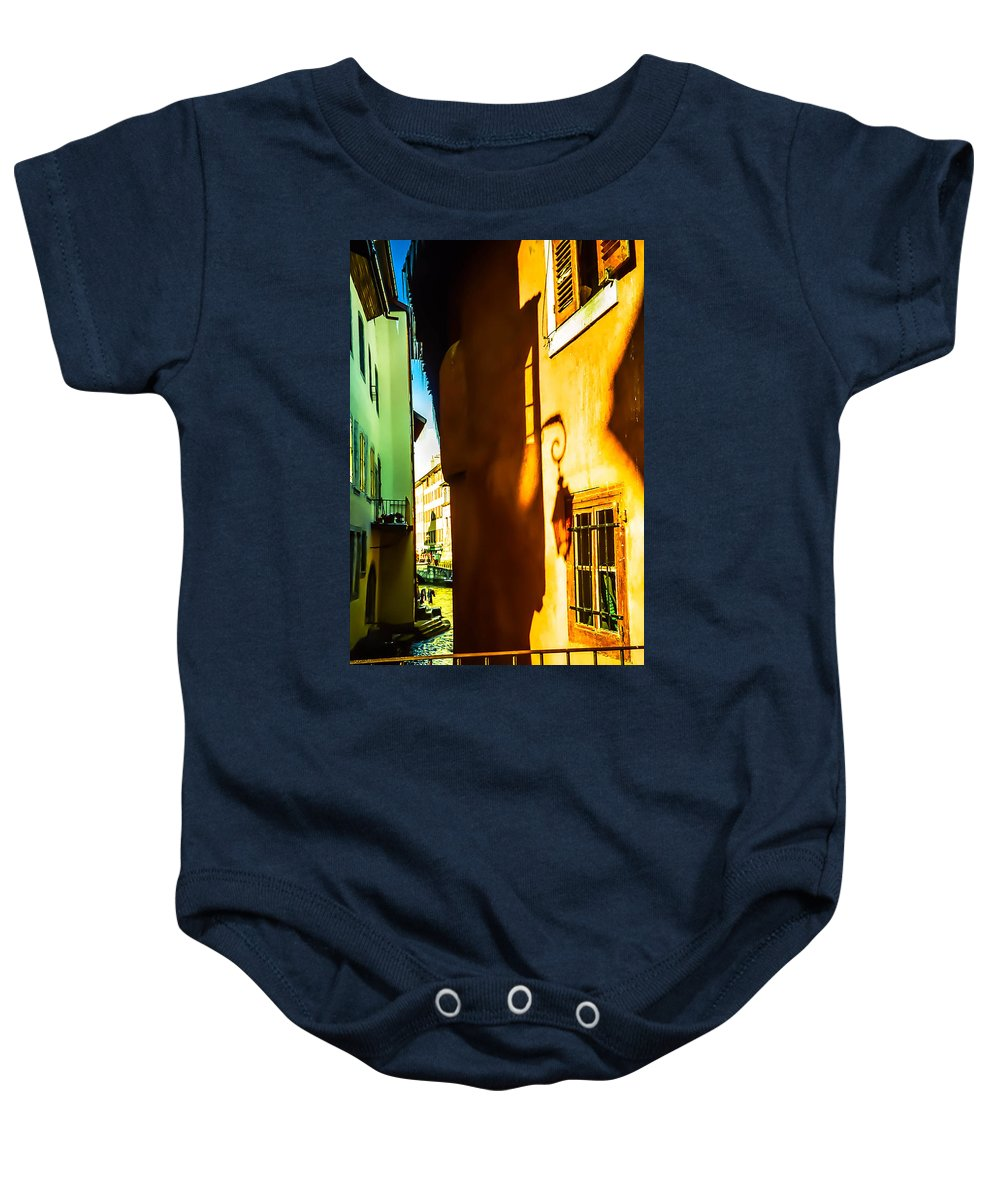 Jenny Rainbow Fine Art Photography Baby Onesie featuring the photograph Magic Lantern On The Walls Of Annecy by Jenny Rainbow