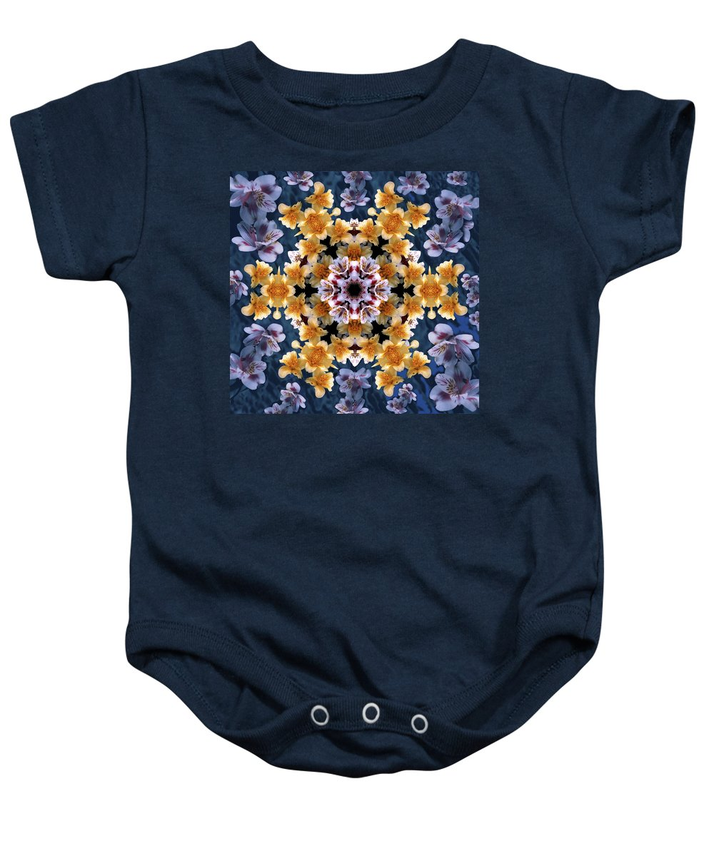 Mandala Baby Onesie featuring the digital art Mandala Alstro by Nancy Griswold