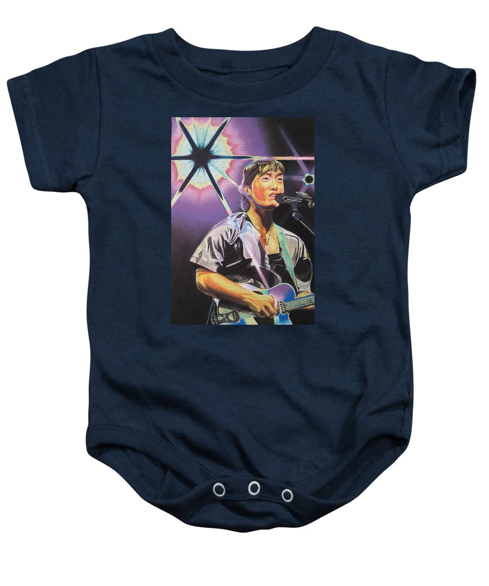 Michael Kang Baby Onesie featuring the drawing Micheal Kang by Joshua Morton