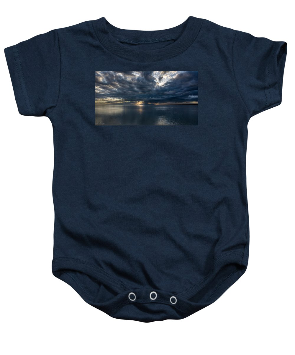 Night Baby Onesie featuring the photograph Midnight Clouds Over The Water by Andrew Matwijec