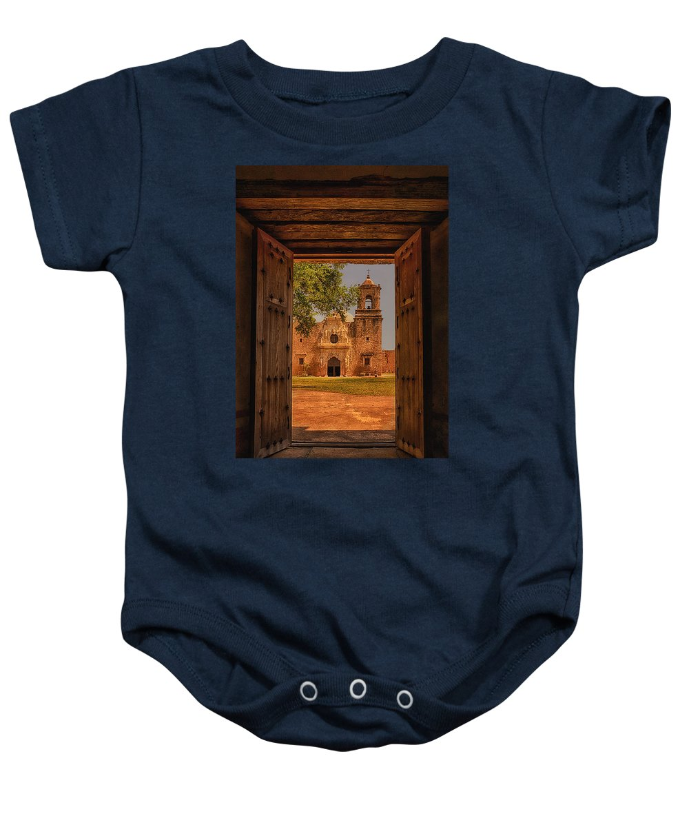 Mission San Jose Baby Onesie featuring the photograph Mission San Jose by Priscilla Burgers