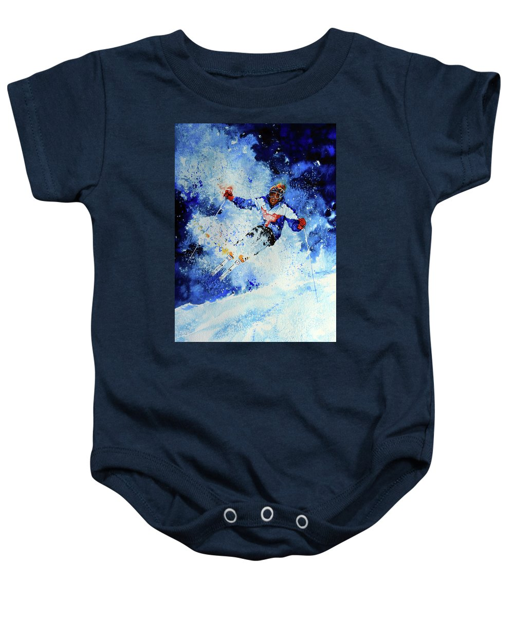 Artist Baby Onesie featuring the painting Mogul Mania by Hanne Lore Koehler