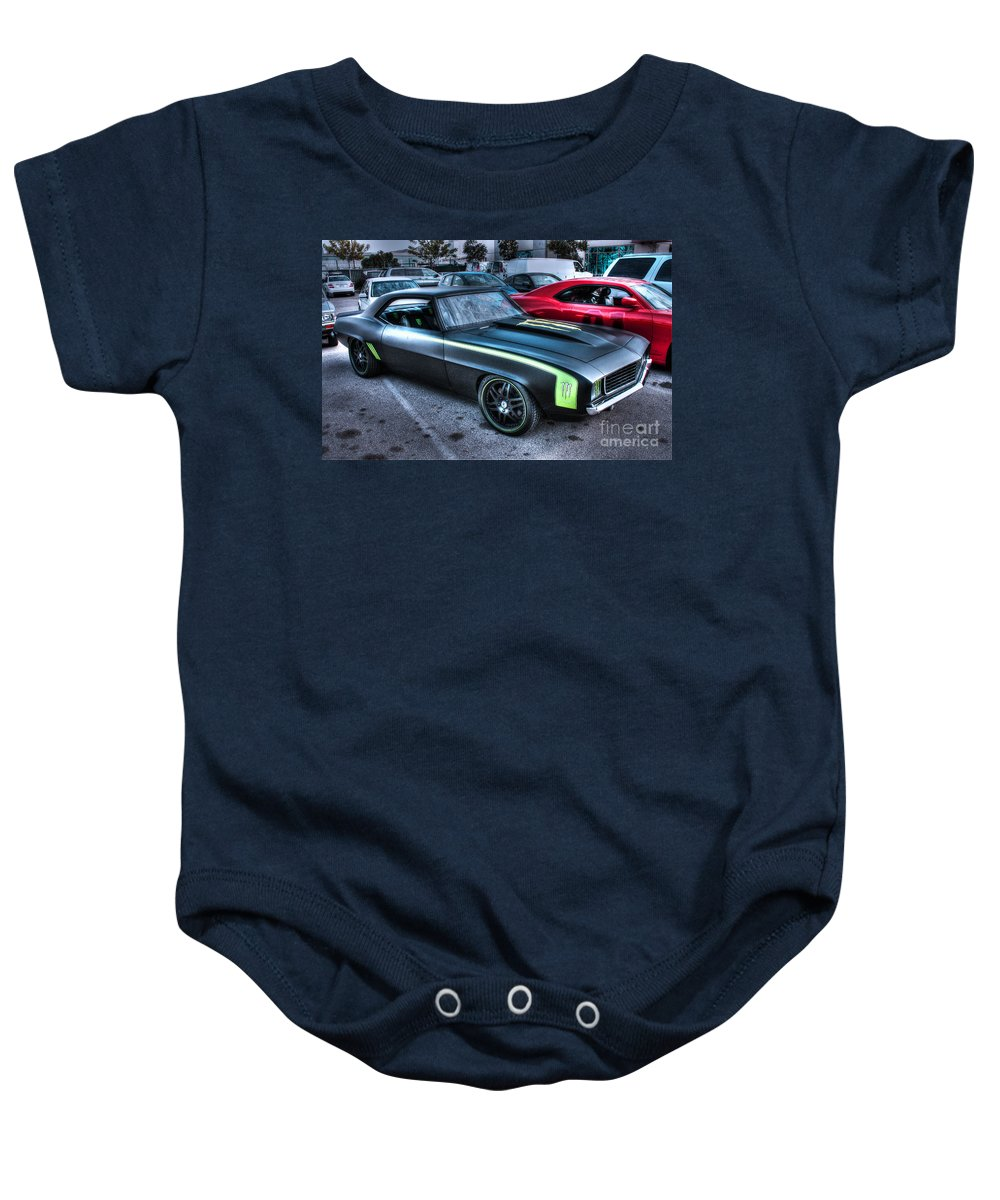 1969 Chevy Camaro Baby Onesie featuring the photograph Monster Camaro by Tommy Anderson