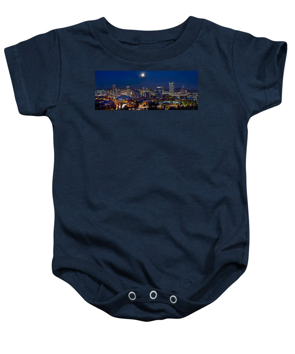 Moon Baby Onesie featuring the photograph Moon Over Portland Oregon City Skyline At Blue Hour by Jit Lim