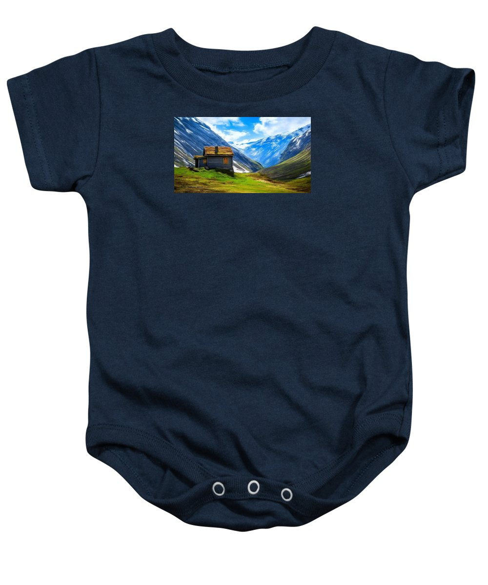 Cabin Baby Onesie featuring the painting Mountain Cabin by Bruce Nutting