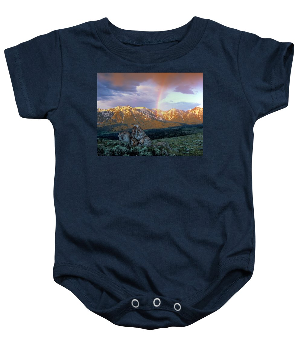 Rainbow Baby Onesie featuring the photograph Mountain Rainbow by Leland D Howard