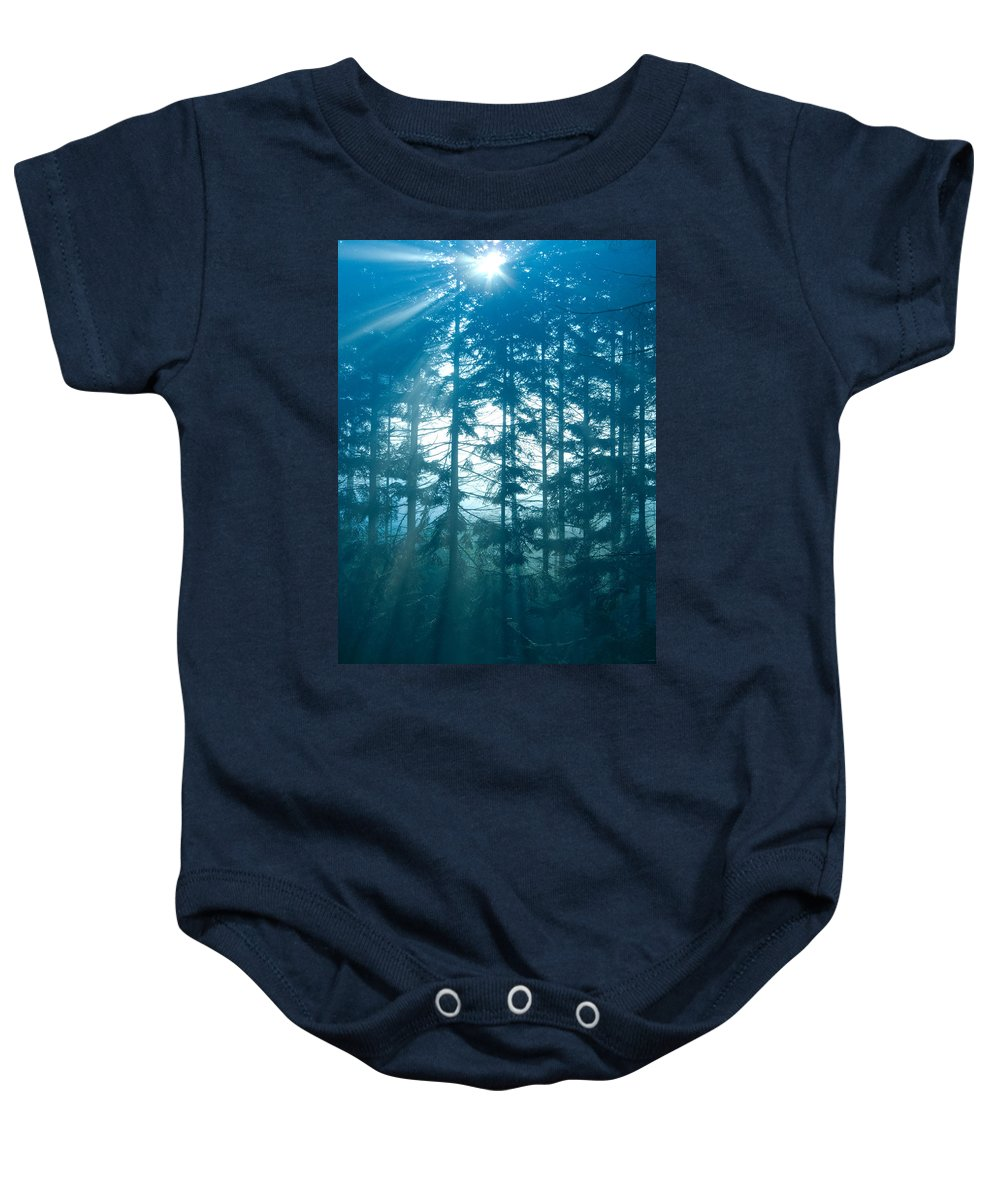 Nature Baby Onesie featuring the photograph Mystic Light by Daniel Csoka