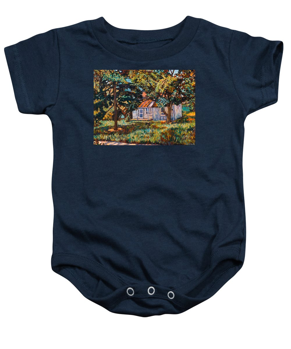 Architecture Baby Onesie featuring the painting Near The Tech Duck Pond by Kendall Kessler