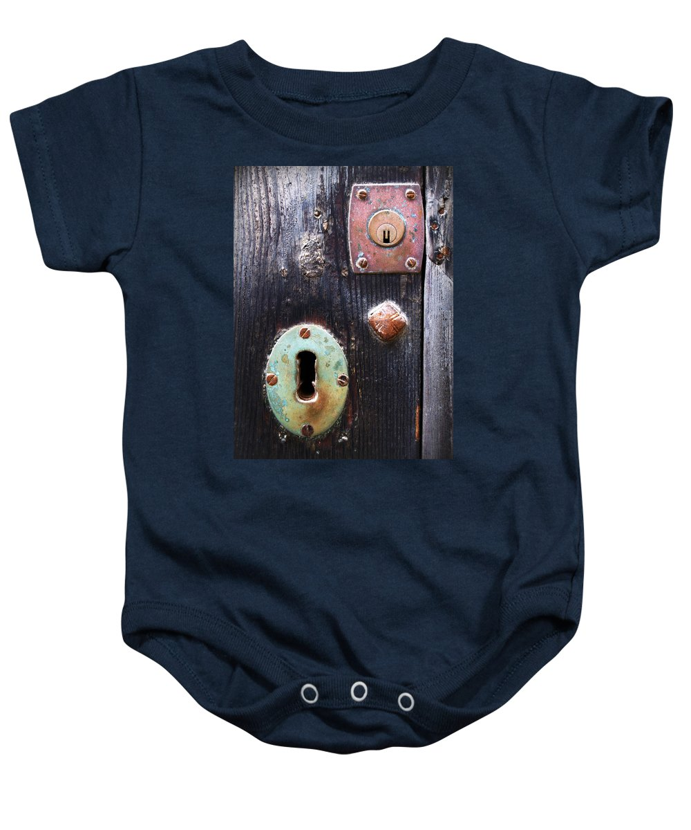 Nobody Baby Onesie featuring the photograph New And Old Locks by Pedro Cardona Llambias