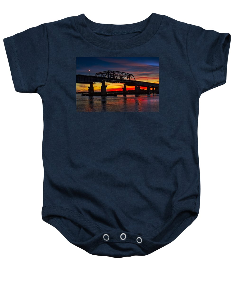 Secaucus Baby Onesie featuring the photograph New Jersey Meadowlands Sunset by Susan Candelario