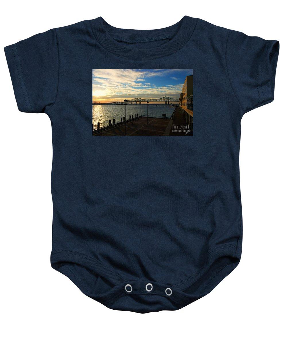 Bridge Baby Onesie featuring the photograph New Orleans Bridge by Erika Weber