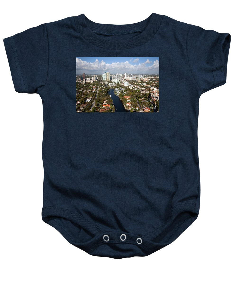 Florida Baby Onesie featuring the photograph New River And Downtown Fort Lauderdale by Bill Cobb