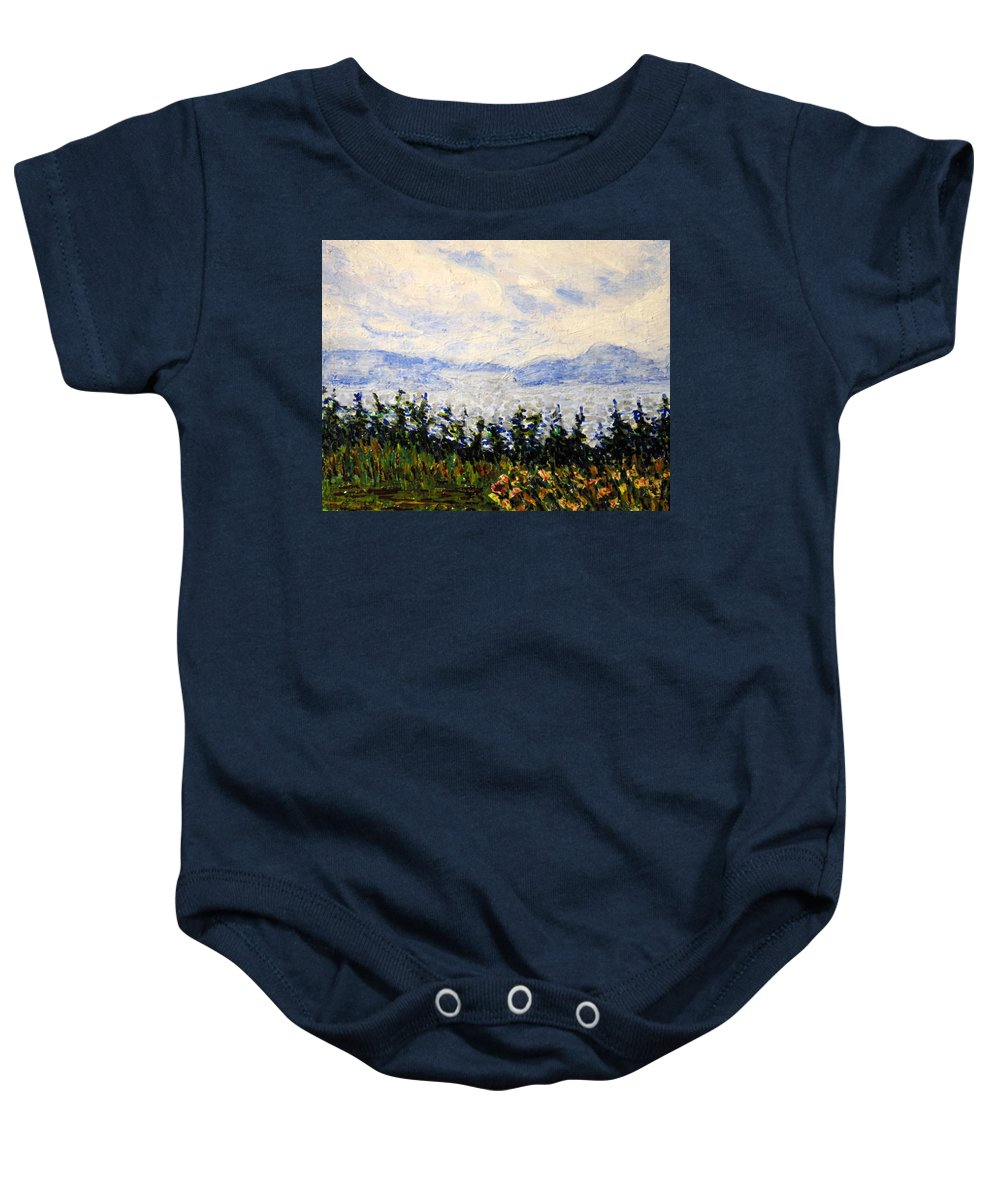 Newfoundland Baby Onesie featuring the painting Newfoundland Up The West Coast by Ian MacDonald
