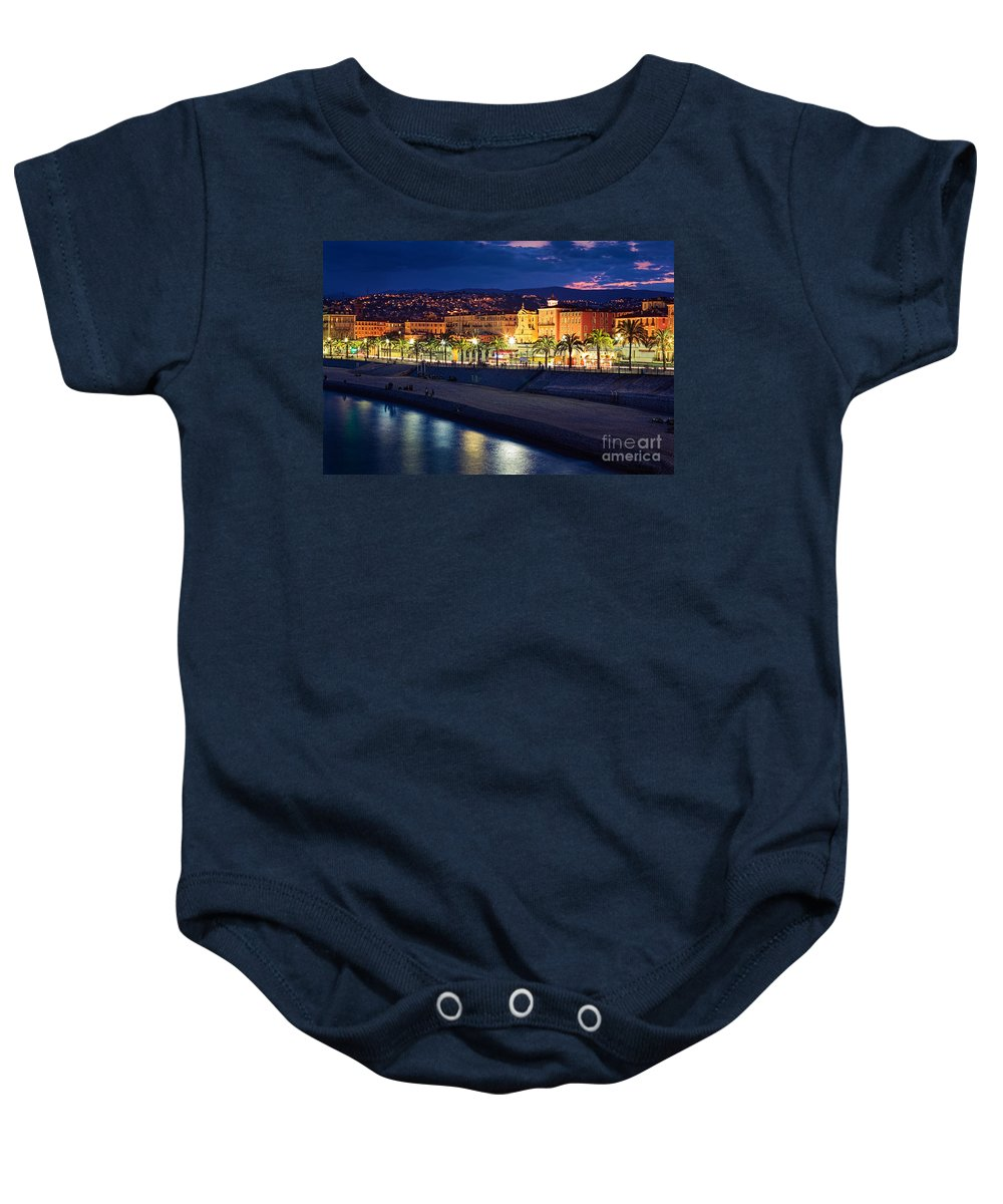 Cote D'azur Baby Onesie featuring the photograph Nice By Night by Inge Johnsson