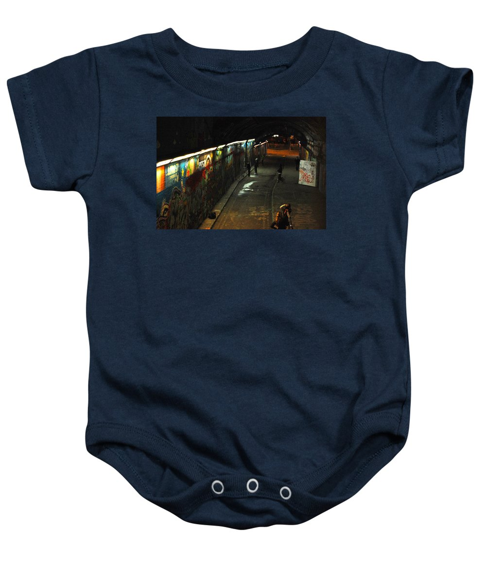 Night Baby Onesie featuring the digital art Night Activity by Gina Dsgn