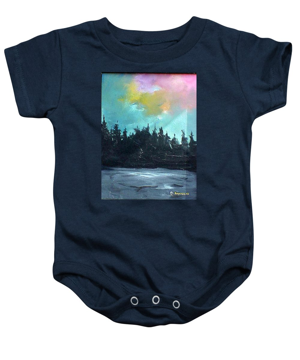 Landscape Baby Onesie featuring the painting Night River by Sergey Bezhinets