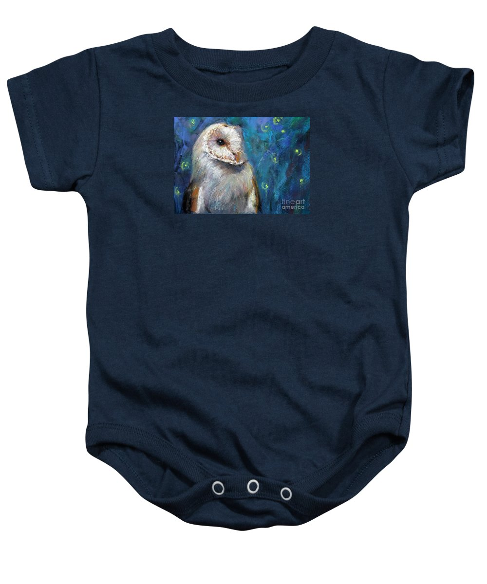Night Snow Owl Baby Onesie featuring the drawing Night Snow Owl by Jieming Wang