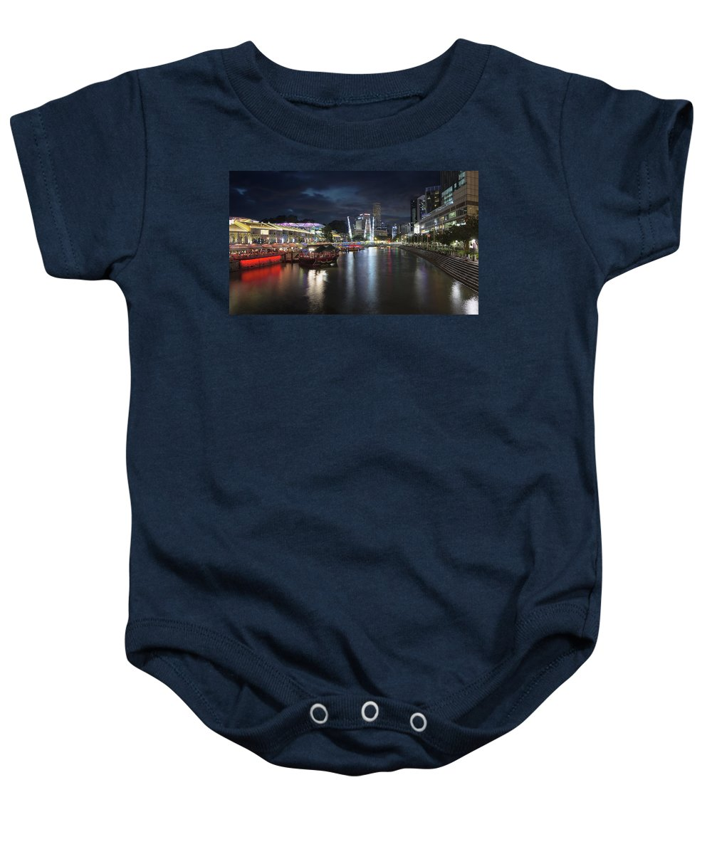 Clarke Baby Onesie featuring the photograph Nightlife At Clarke Quay Singapore River by Jit Lim