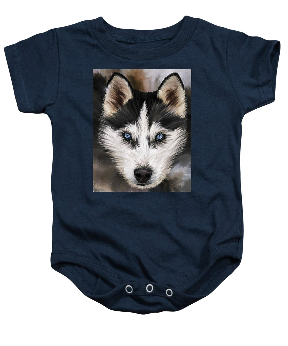 Dog Art Baby Onesie featuring the painting Nikki by David Wagner