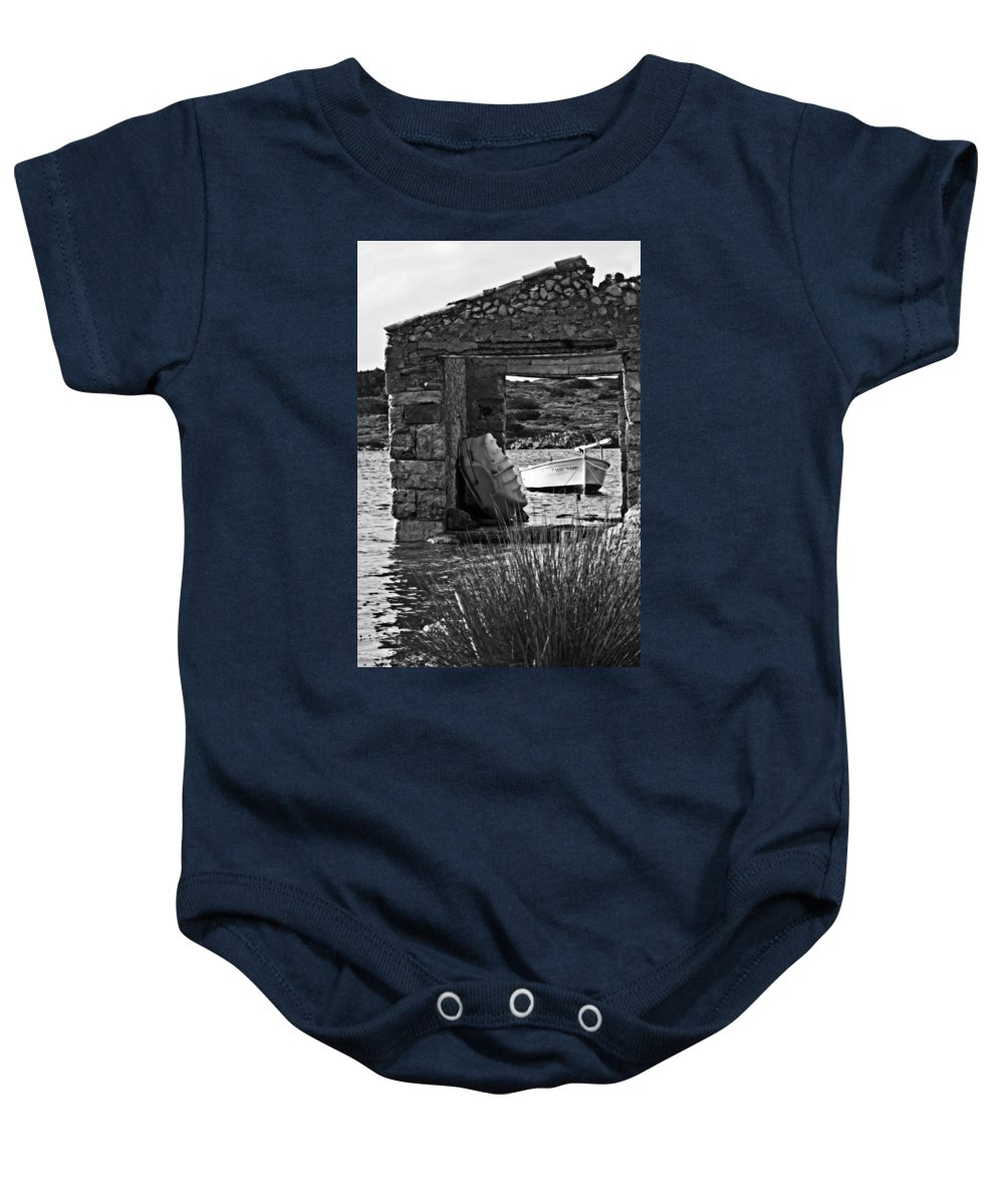 Beauty Baby Onesie featuring the photograph Vintage Boat Framed In Nature Of Minorca Island - Waiting by Pedro Cardona Llambias